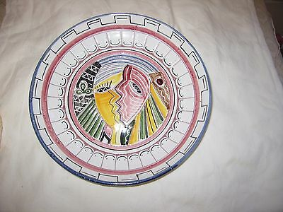 Mid Century Pottery Plate Bowl 1954 Signed Italy ? Madoura Era Modernist Carved