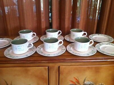 Set of 6 Cups & 9 Saucers  - Taylor Smith TAYLORSTONE CATHAY Atomic Starburst