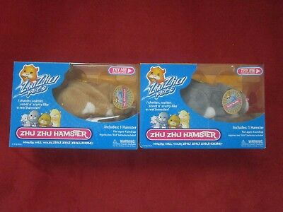 NEW Lot of 2 - Zhu Zhu Pets - Num Nums  Mr Squiggles Zhu Zhu Hamster 2008 Cepia
