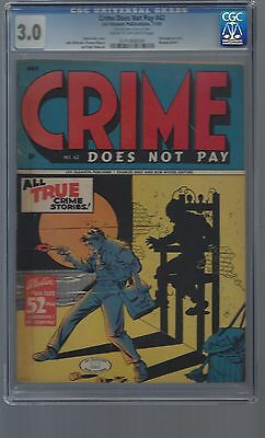 Crime Does Not Pay #42 CGC 3.0 Classic Electrocution Cover