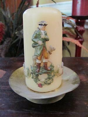 Vintage Carved Painted Wax Candle Victorian Woman Man Dog On Brass Base Holder