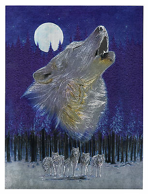 """Dufex Foil Picture Print - Howling Wolf - size 6"""" x 8"""""""