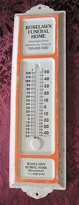 Vintage Roselawn Funeral Home Metal Advertising Thermometer MARTINSVILLE VA