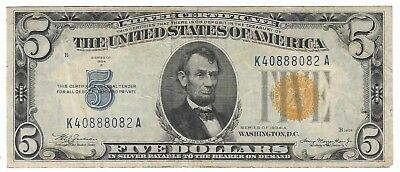 1934 A $5 Five Dollar Bill/Note North Africa Yellow Seal Silver Certificate