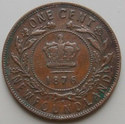 1876 Newfoundland Canada Canadian Large 1 Cent Victoria Coin
