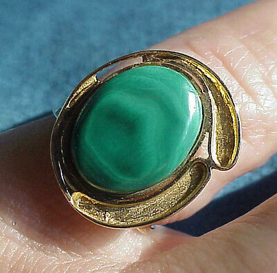 Fine Vintage Mid Century 18Kt Gold Abstract Modernist Malachite Ring Size 5 1/2