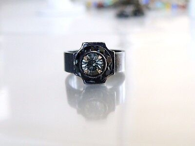 RARE Antique Style Silver Catherine Popesco Black White Crystal French Ring 7.5