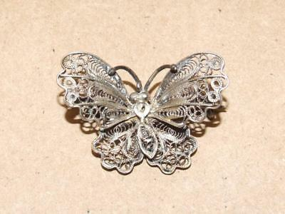 Vintage Antique Italian Made Sterling Silver Filigree Butterfly Pin Brooch