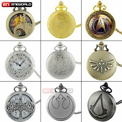 Antique Steampunk Pocket Watch Quartz Classic Necklace Pendant Chain Gift Retro