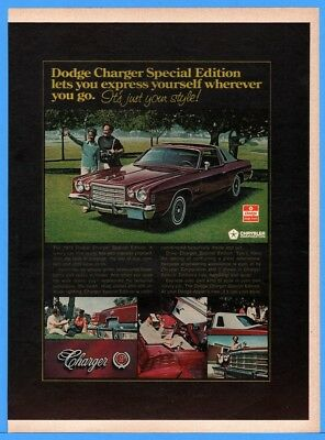 1976 Dodge Charger Special Edition Golf Picnic African American Black Print AD