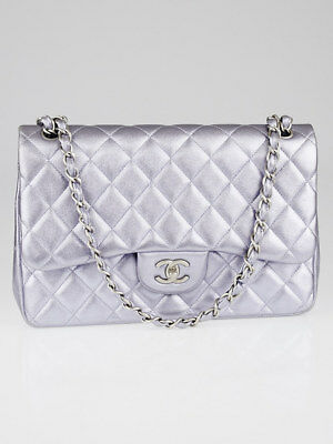 5c17b2a507f9d8 Chanel Light Purple Metallic Quilted Lambskin Leather Classic Jumbo Double  Flap