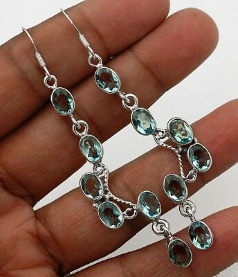 "8CT Aquamarine 925 Solid Sterling Silver Earrings Jewelry 3"" Long"