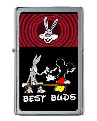 Bugs Bunny Mickey Mouse Best Buds Share Joint Flip Top Lighter Brushed Chrome