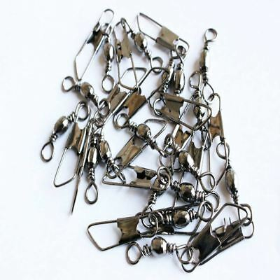 100pc/Set Stainless Steel Fishing Barrel Swivel W/Safety Snap Connector Tackle