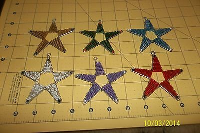 Glass bead Hand Beaded STAR Christmas Ornament wire frame set