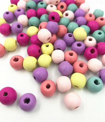 200X Mixed Round Wood Beads DIY Kids Toy Makeing Necklace Spacer Beads 10mm