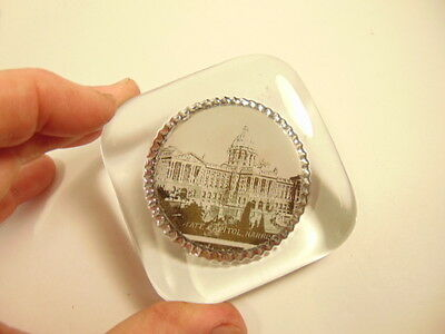 vintage glass paperweight showing PA's State Capitol, Harrisburg