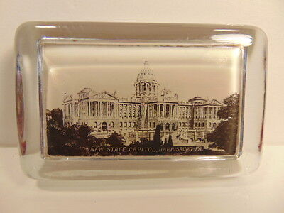vintage mirrored glass souvenir paperweight: New State Capitol, Harrisburg, PA