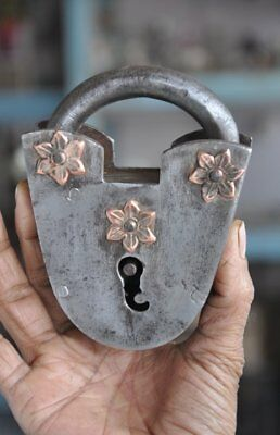 1930's Old Iron Handcrafted Copper Flower Fitted Unique Shape Padlock