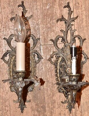 Pair Vintage Brass Wall Sconces Floral Hollywood Regency Shabby Paris French