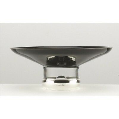 """NEW - Sterling Silver - Black Glass and Silver BOWL - 7 1/2"""""""