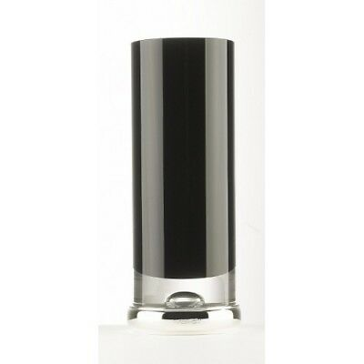 """NEW - Sterling Silver - Large Black Glass and Silver VASE - 10 3/4"""""""