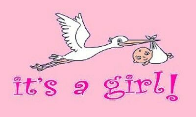 It's a Girl Flag Baby Banner Birth Announcement Pennant 3x5 Indoor Outdoor