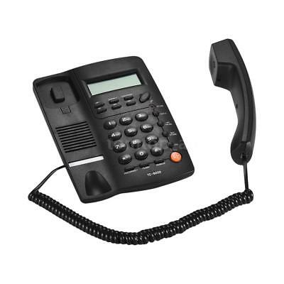 Black 16 Digit LCD Display Corded Phone Desktop Home Telephone Hotel Office I6U8