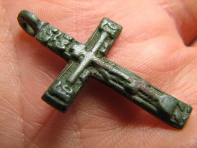 Solid Big Rare Form! Nice Relief Late Medieval Period Church Bronze Cross ! #145