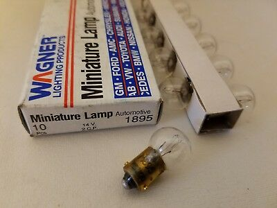 Box of 10 Wagner 1895 GE1895 Miniature Automotive Lamps Light Bulbs 14V 2CP