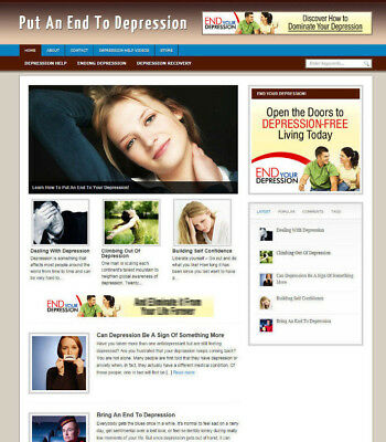 Depression Help Blog / Website + Uk Affiliate Store & Banners + Free Domain