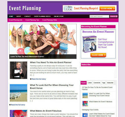 Event Planners Website With Uk Affiliates + Free Domain And Hosting