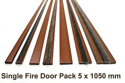 BROWN Intumescent Strip Door Fire Seals 5 Lengths @ 1050mm Fireseal Fire & Smoke