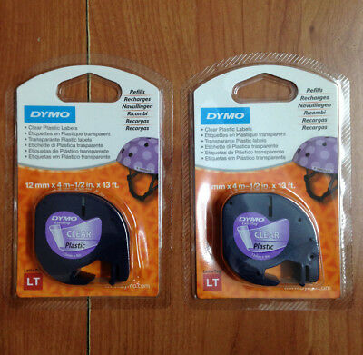 2 x GENUINE DYMO LETRATAG CLEAR PLASTIC TAPES 122667 12mm.