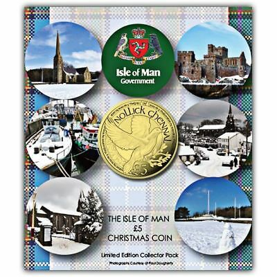 Isle of Man 2017 Christmas Dove £5 Uncirculated Alpaca Coin in a card