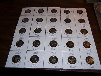 (Lot Of 25) Premium Roosevelt Dimes Date Run-1968S Thru 1992S-Estate Find-A-1