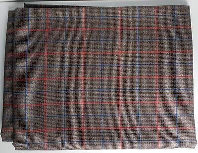 "Glen Check Fabric Wool Blend Suiting Brown Red Blue 60"" x 160"" Traditional"