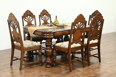 English Tudor Style 1925 Antique Carved Dining Set,  Table, Leaf & 6 Chairs