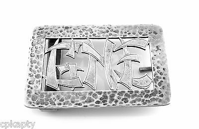 Antique Arts & Crafts CHINOISERIE Hammered BROCHON CHICAGO Sterling BELT BUCKLE