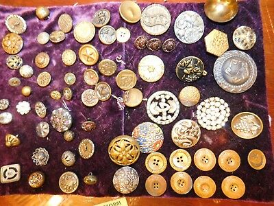 Over 70 Small Medium & Large Antique Metal Picture Buttons Victorian painted +++