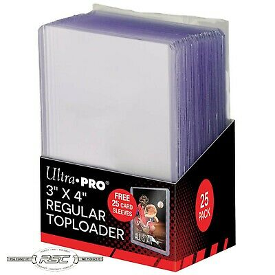 "25 ULTRA PRO 3"" x 4"" Regular Clear Rigid Toploader + 25 FREE SLEEVES Included!"