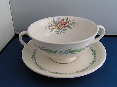 Royal Doulton Fairfield Two Handled Soup Coup And Saucer, D 6339.