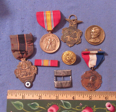 Vintage Mixed Lot Of 8 Pcs Military Medals Lincoln Medal Art Co Aau Medal Etc