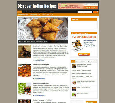 Indian Cooking Website For Sale + Uk Affiliate Store & Banners + New Free Domain