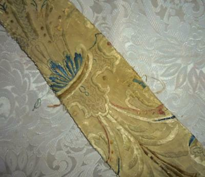 EXQUISITE RARE FRAGMENT 17th/18th CENTURY EMBROIDERED SILK, ITALIAN OR FRENCH
