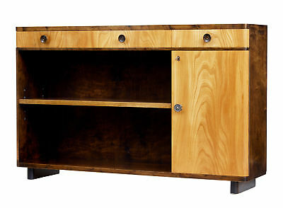 Fine Mid 20Th Century Scandinavian Elm And Birch Low Bookcase