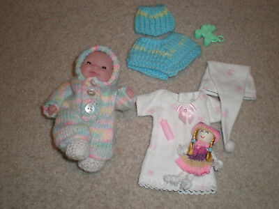 "Berenguer Baby 5"" New And New Knit & Hand Crochet  Outfits Plus Extras"