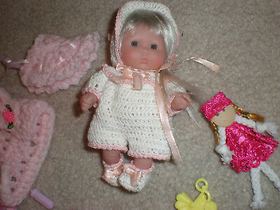 "Berenguer Baby 5"" New  Hand Crochet 2 Outfits Plus Extras/ Long Platinum Hair"