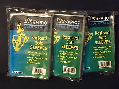 """300  ULTRA PRO  3 11/16"""" x 5 3/4"""" POSTCARD Soft Sleeves Protectors Holders NEW"""