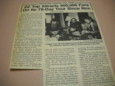 ZZ TOP attracts 800K on tour 1980 detailed music biz promo trade article